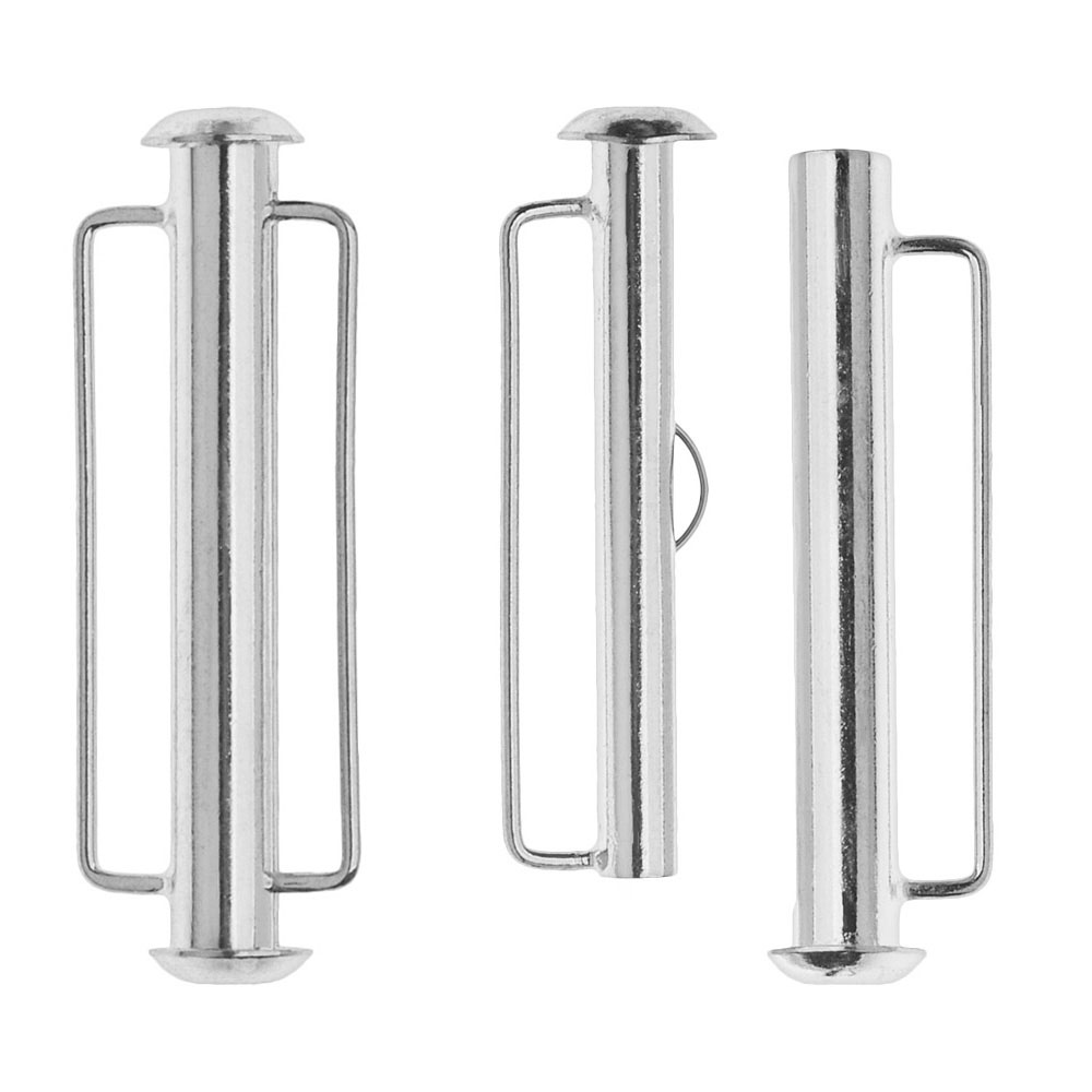 Slide Tube Clasps, with Bar Loops 31.5x10.5mm, 2 Sets, Silver Plated