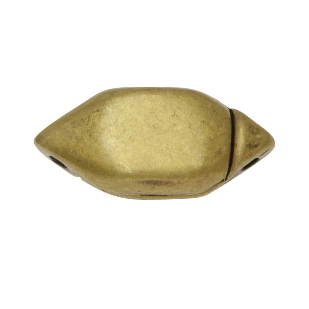 Cymbal Magnetic Clasp for GemDuo Beads, Ralaki, Diamond Shape 15x6.5mm, 1 Set, Ant. Brass Plated