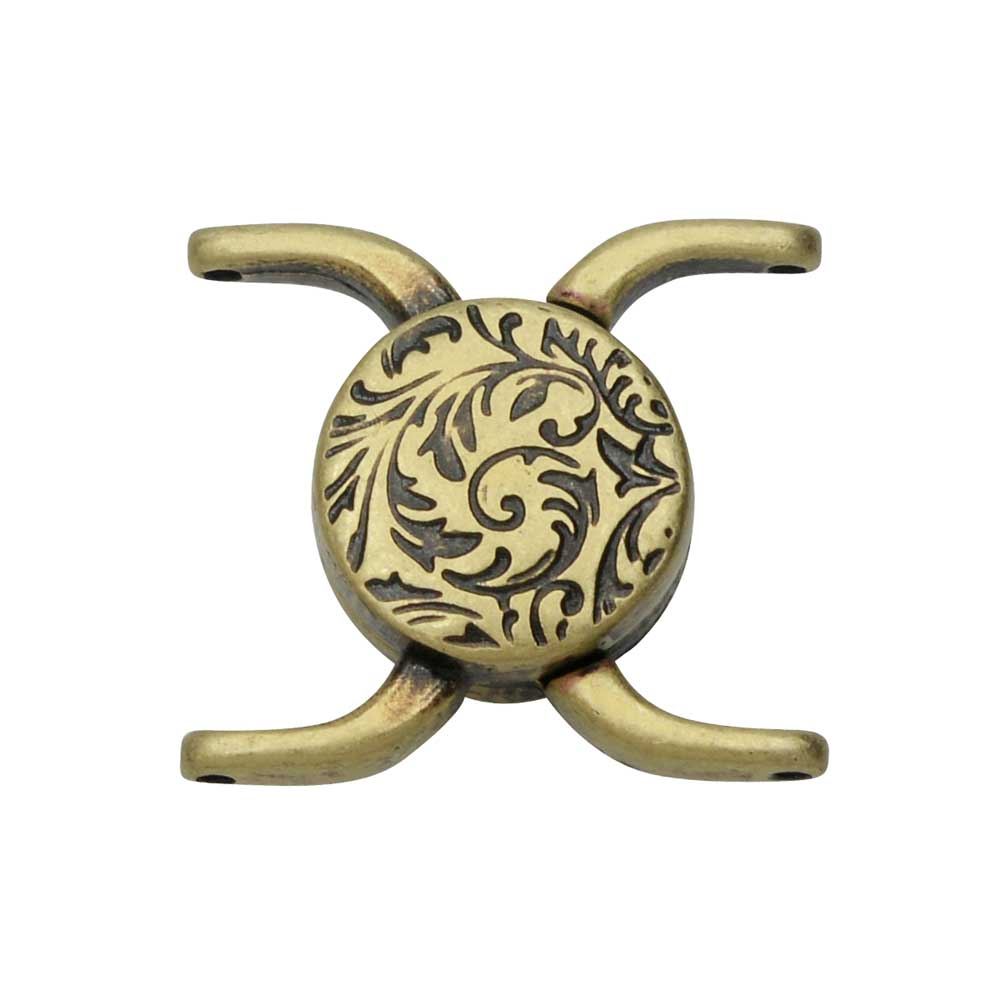 Cymbal Magnetic Clasp for 11/0 Delica & Round Beads, Souda II, Round 15.5x17.5mm, 1 Set, Antiqued Brass Plated