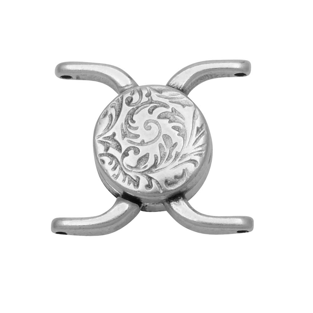 Cymbal Magnetic Clasp for 11/0 Delica & Round Beads, Souda II, Round 15.5x17.5mm, 1 Set, Antiqued Silver Plated