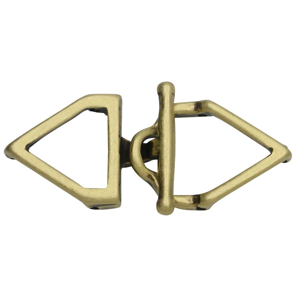 Cymbal Toggle Clasp for 11/0 Delica & Round Beads, Samaria, Triangle 17x36.5mm, 1 Set, Antiqued Brass Plated