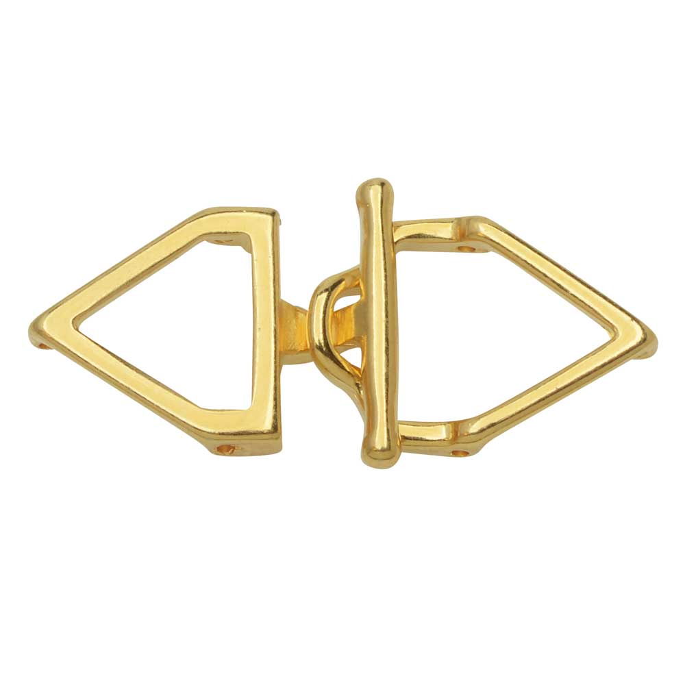 Cymbal Toggle Clasp for 11/0 Delica & Round Beads, Samaria, Triangle 17x36.5mm, 1 Set, 24k Gold Plated