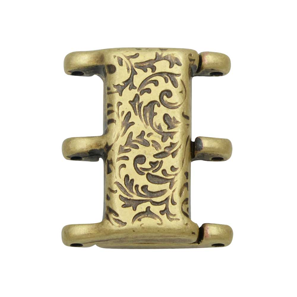 Cymbal Magnetic Clasp for 8/0 Delica & Round Beads, Nisidia III, Rectangle 16x20mm,  1 Set, Antiqued Brass Plated