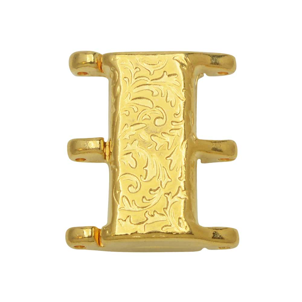 Cymbal Magnetic Clasp for 8/0 Delica & Round Beads, Nisidia III, Rectangle 16x20mm,  1 Set, 24k Gold Plated