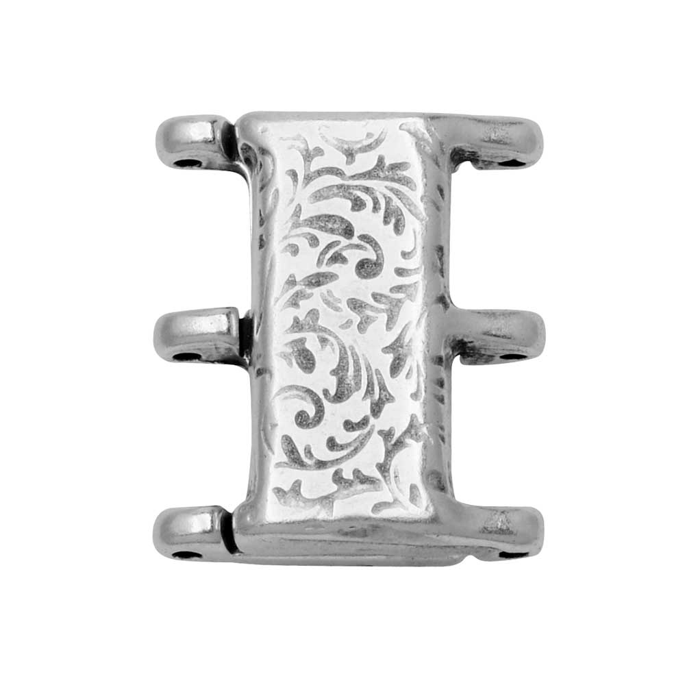 Cymbal Magnetic Clasp for 8/0 Delica & Round Beads, Nisidia III, Rectangle 16x20mm,  1 Set,  Antiqued Silver Plated