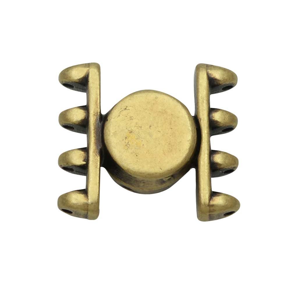 Cymbal Magnetic Clasp for SuperDuo Beads, Anteni, Round 15.5x17.5mm, 1 Set,  Antiqued Brass Plated