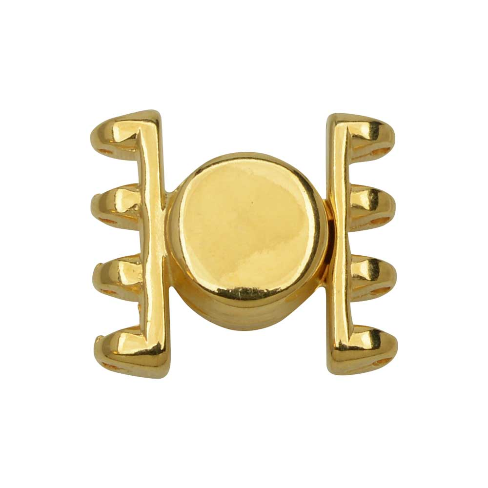 Cymbal Magnetic Clasp for SuperDuo Beads, Anteni, Round 15.5x17.5mm, 1 Set,  24k Gold Plated