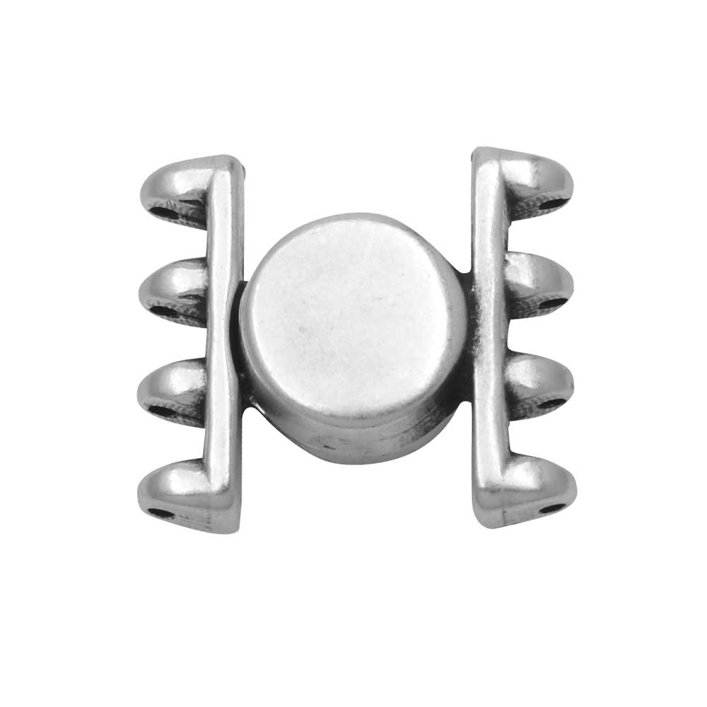 Cymbal Magnetic Clasp for SuperDuo Beads, 1 Set,  Anteni, Round 15.5x17.5mm, Antiqued Silver Plated
