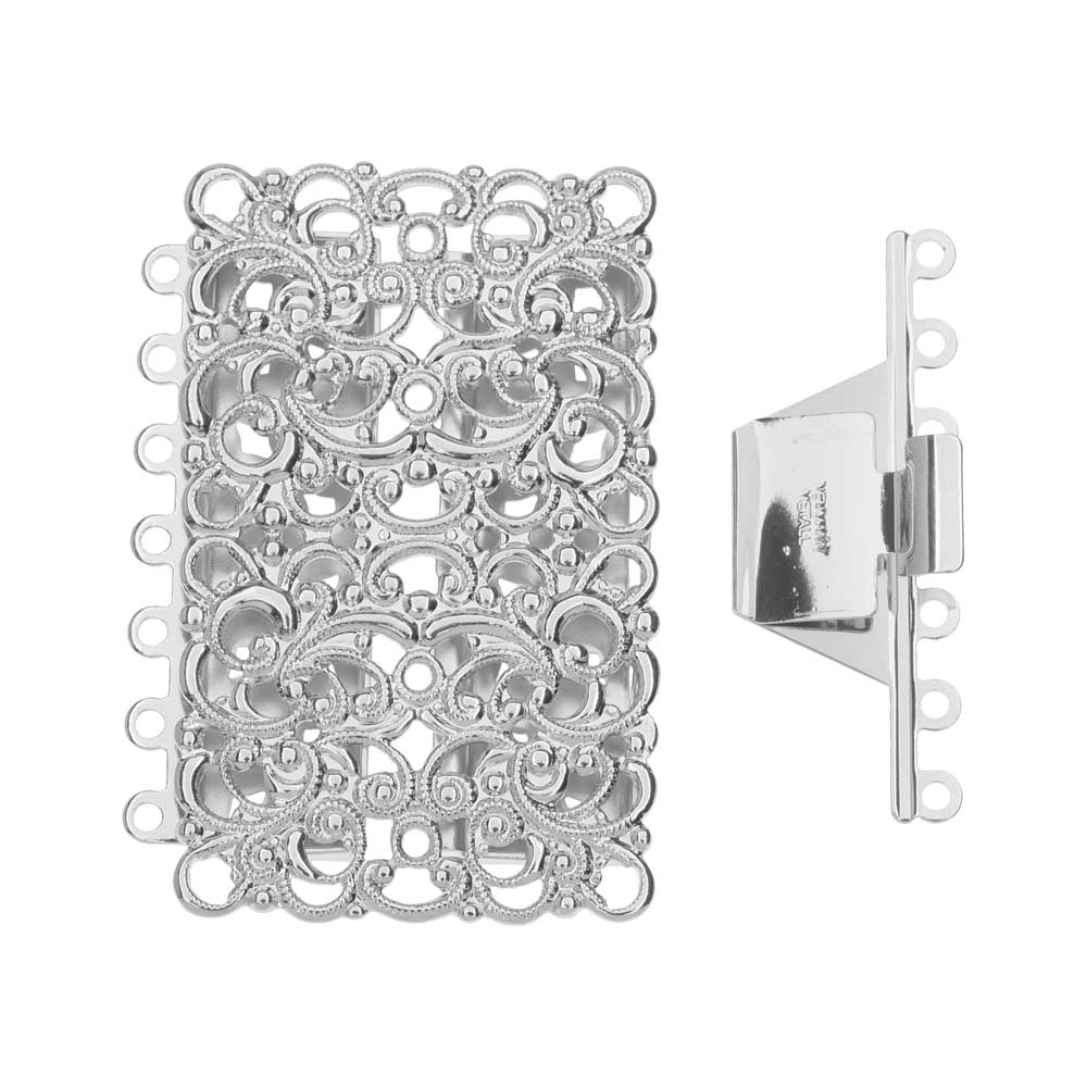 Elegant Elements, 7-Strand Filigree Rectangle Box Clasp 43x33mm, 1 Clasp, Rhodium Plated