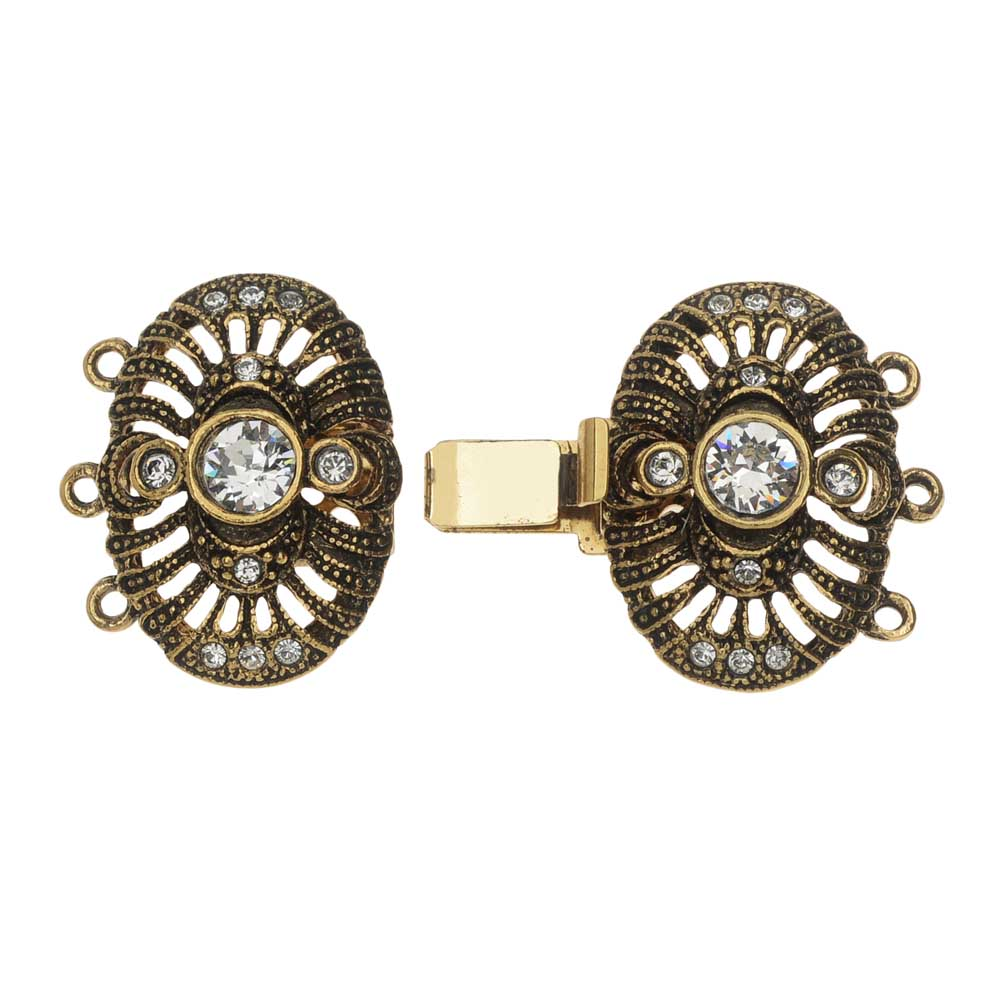 Final Sale - Elegant Elements, 3-Strand Double Oval Box Clasp w/ Swarovski Crystals 37x22mm, Antiqued Gold Plated