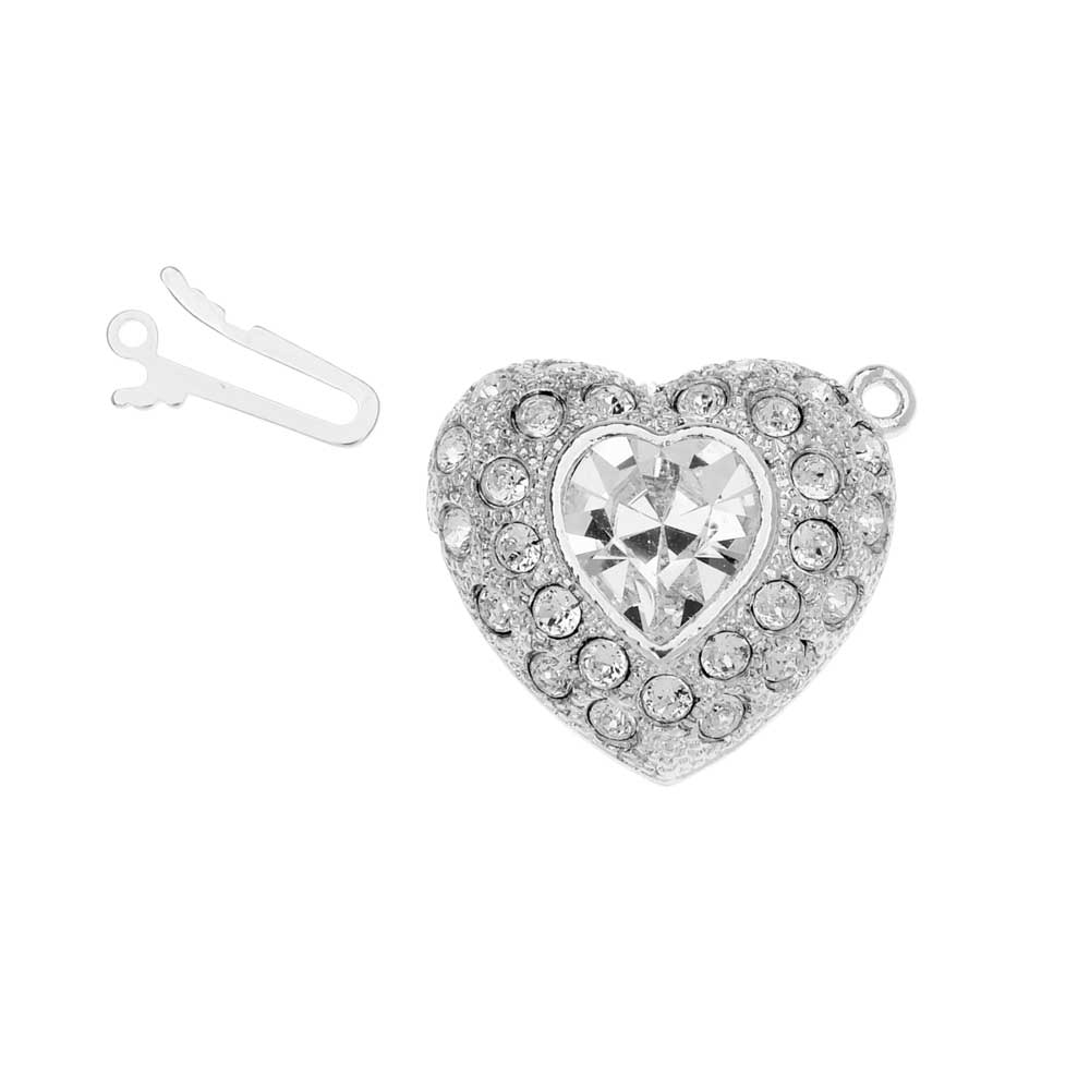 Elegant Elements, 1-Strand Heart Shaped Box Clasp with Swarovski Crystals 22mm, Rhodium Plated