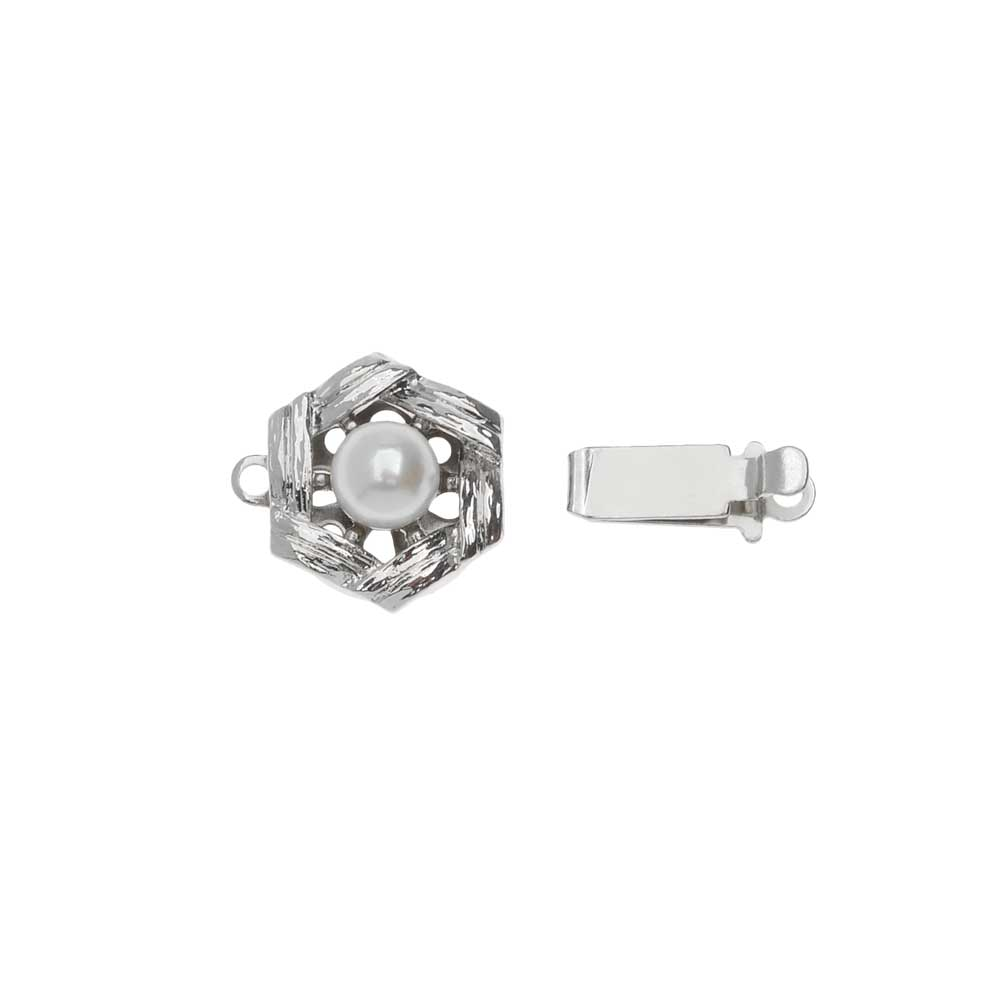 Elegant Elements, 1-Strand Hexagon Box Clasp with Swarovski Pearl 11mm, 1 Clasp, Rhodium Plated