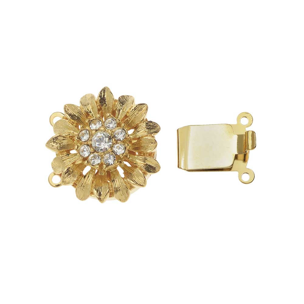 Elegant Elements, 2-Strand Dandelion Flower Box Clasp with Swarovski Crystals 19.5mm, Gold Plated