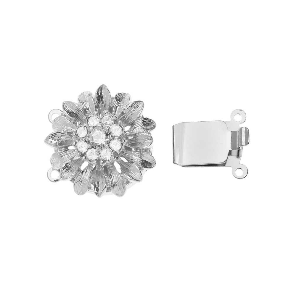 Elegant Elements, 2-Strand Dandelion Flower Box Clasp with Swarovski Crystals 19.5mm, Silver Plated
