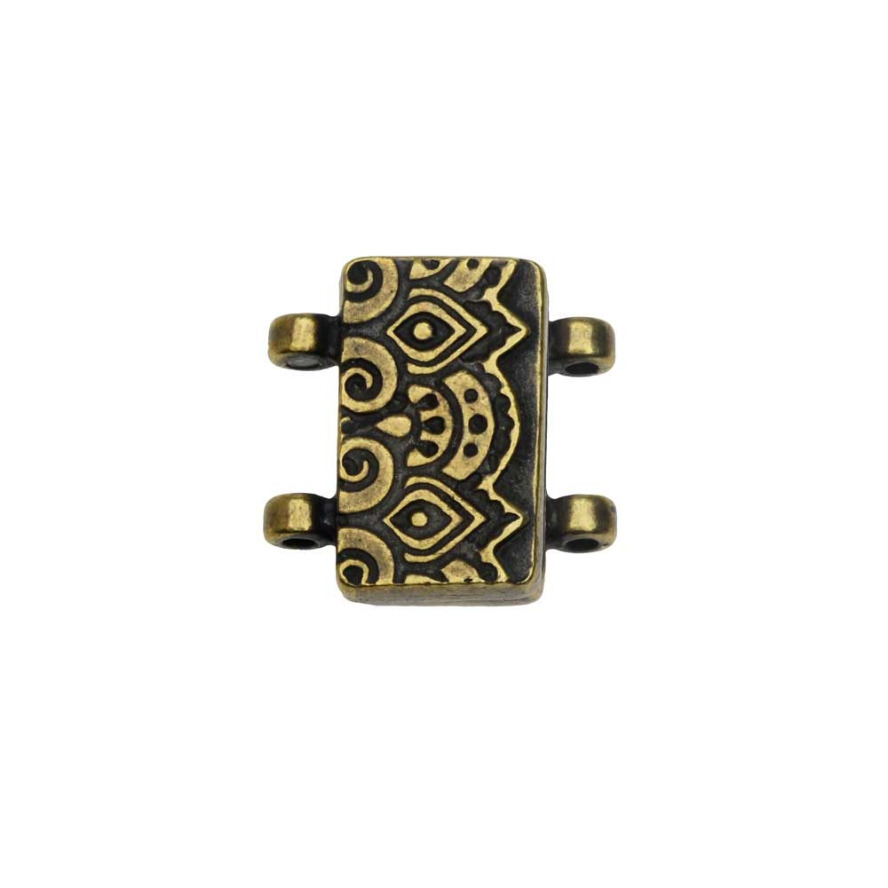 Magnetic Clasp, Temple 2-Strand Rectangle 16.5mm, Brass Oxide Finish, 1 Set, By TierraCast