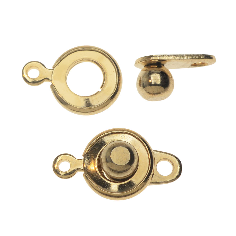 Ball and Socket Clasps, Round 12.5mm, 2 Sets, Gold Plated