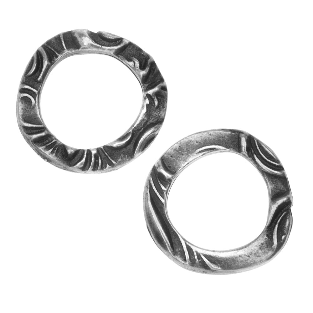 TierraCast Connector Link, Flora Ring 16mm, 2 Pieces, Antiqued Pewter