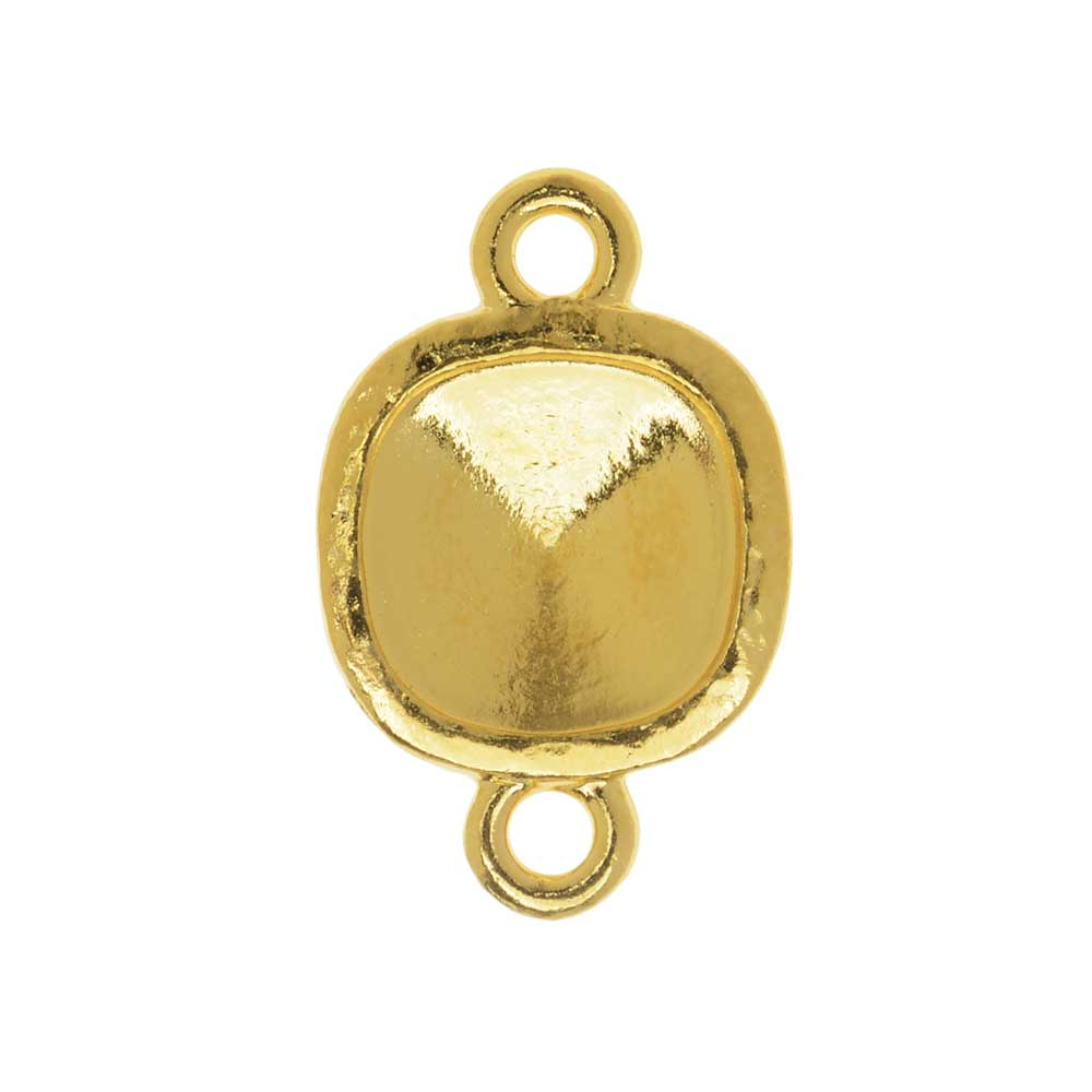 TierraCast Hammertone Bezel Link, Gold Plated, Fits Cushion Stone 10mm, 1 Piece