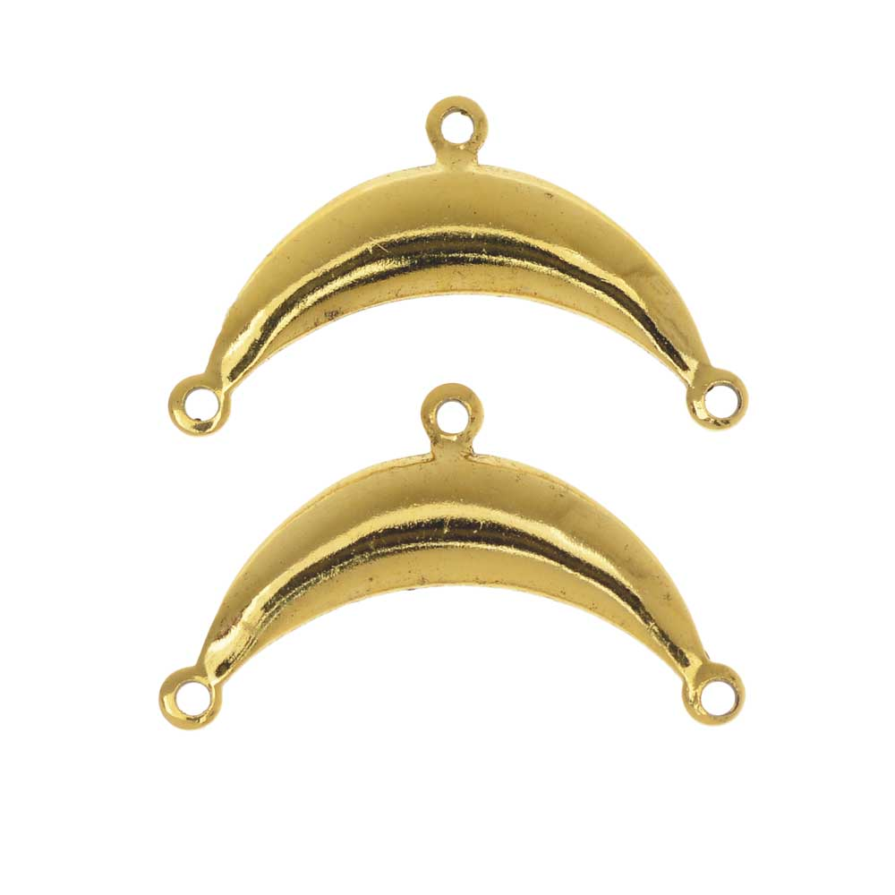 Stamping Connector Link, 2 to 1 Crescent 15x25mm, 2 Pieces, Antiqued Gold