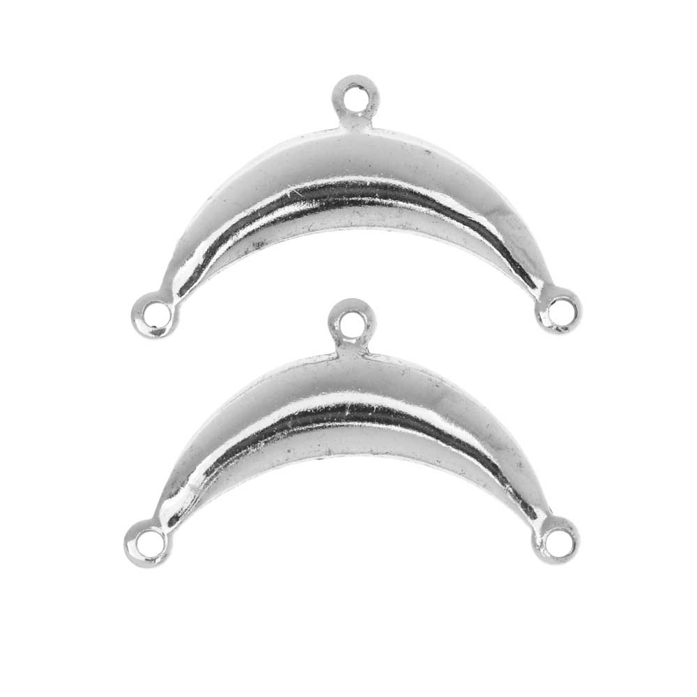 Stamping Connector Link, 2 to 1 Crescent 15x25mm, 2 Pieces, Antiqued Silver
