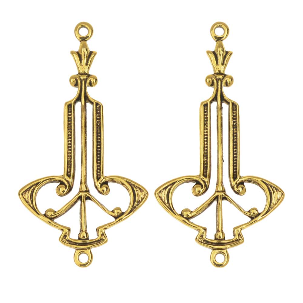 Stamping Connector Link, Art Deco Drop 15x28.5mm, 2 Pieces, Antiqued Gold