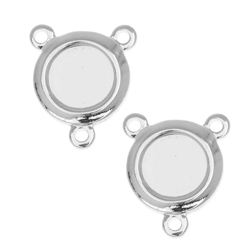 Final Sale - Stamping Connector Link, 2 to 1 Circle Bezel Fits 6mm/SS30, 6 Pieces, Silver Plated