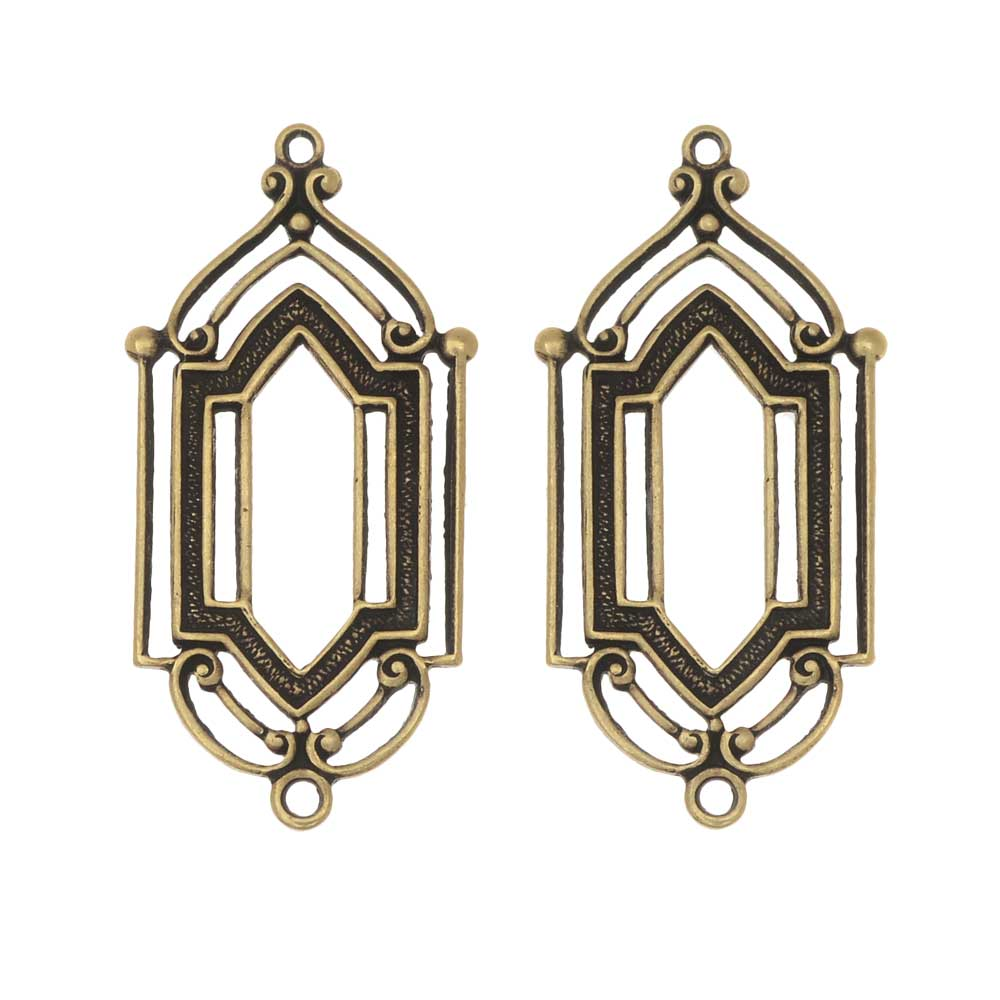 Stamping Connector Link, Art Deco Window 12.5x27.5mm, 2 Pieces, Antiqued Brass