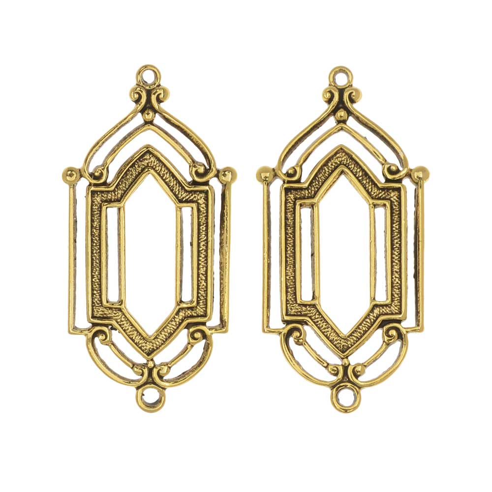 Stamping Connector Link, Art Deco Window 12.5x27.5mm, 2 Pieces, Antiqued Gold