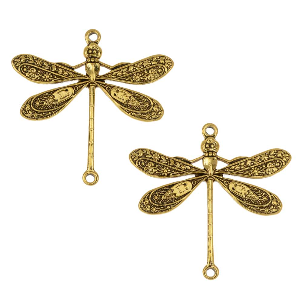 Stamping Connector Link, Dragonfly 23.5x24mm, 2 Pieces, Antiqued Gold