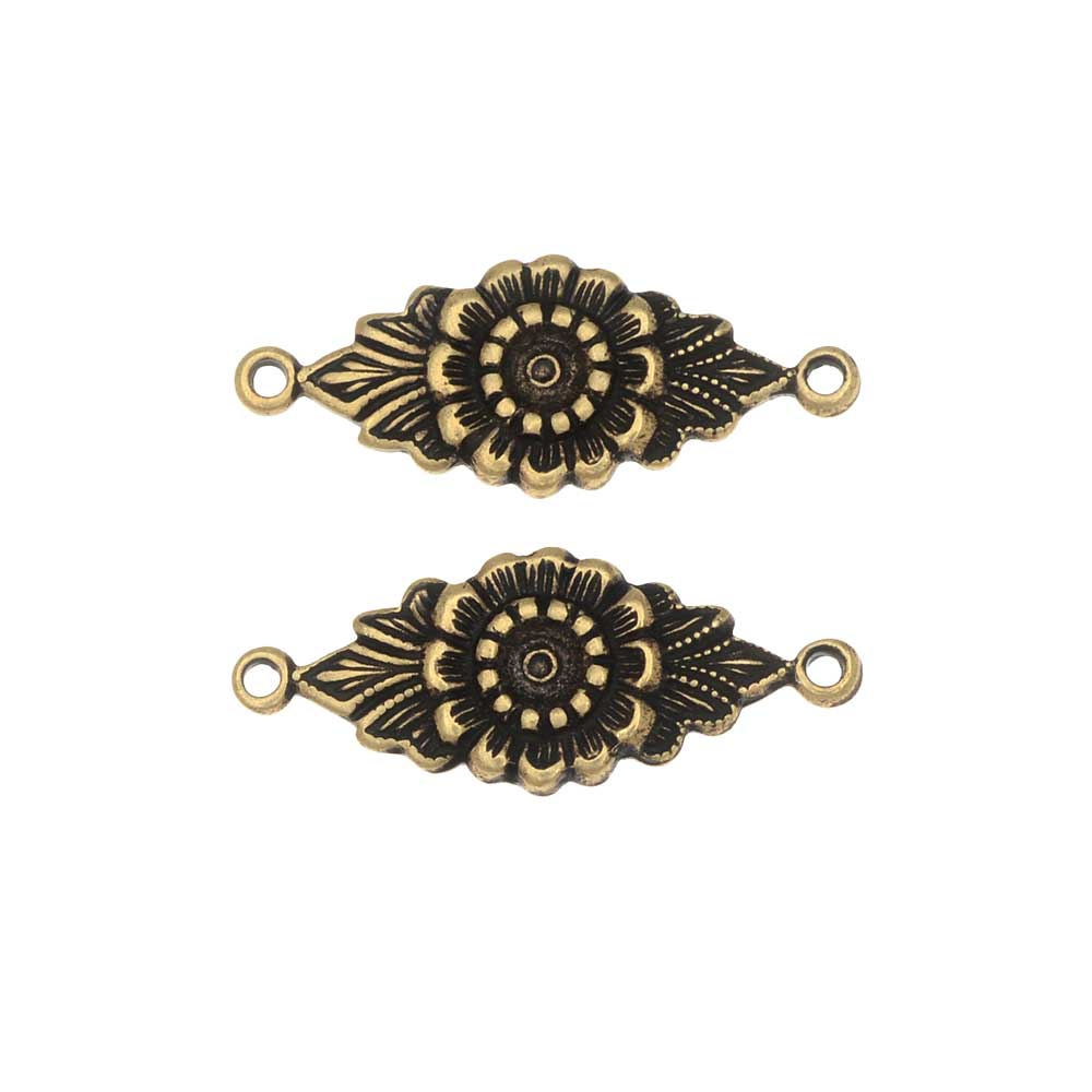 Stamping Connector Link, Floral Design 9x22.5mm, 2 Pieces, Antiqued Brass