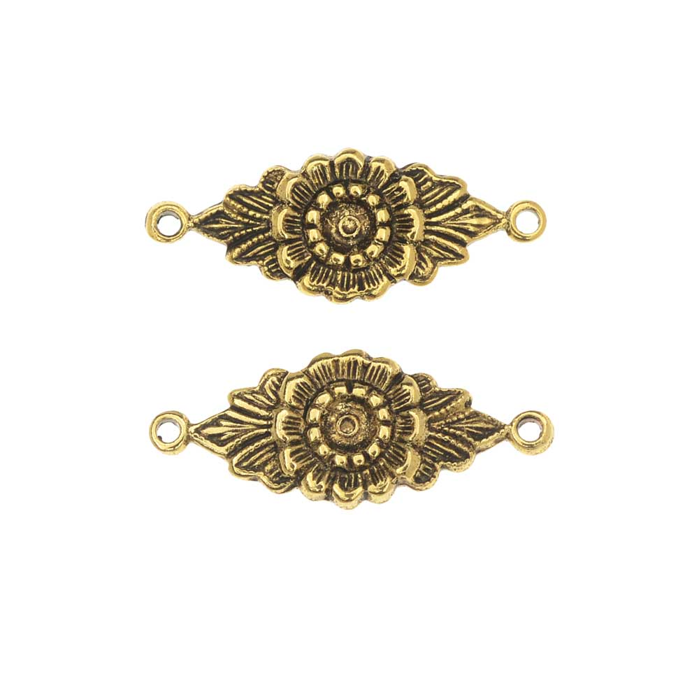 Stamping Connector Link, Floral Design 9x22.5mm, 2 Pieces, Antiqued Gold