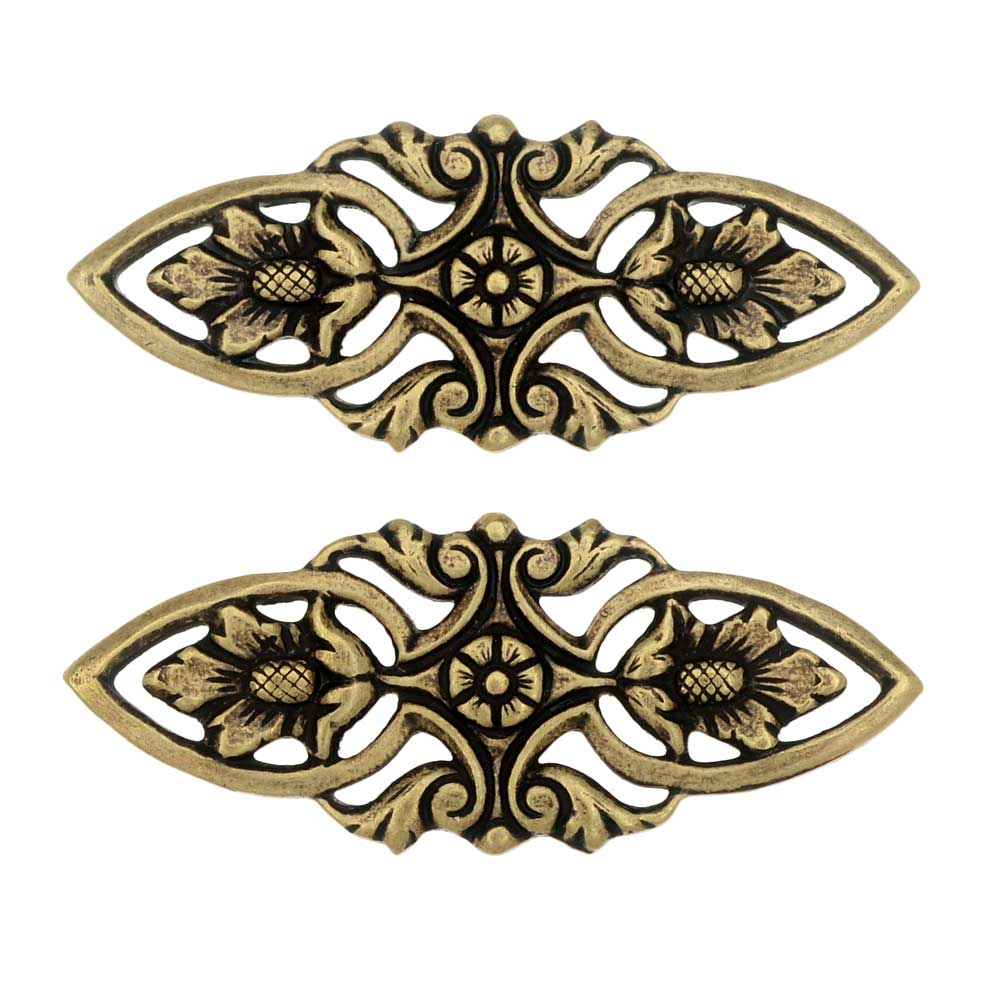Stamping Connector Link, Filigree Marquise 12x30mm, 2 Pieces, Antiqued Brass