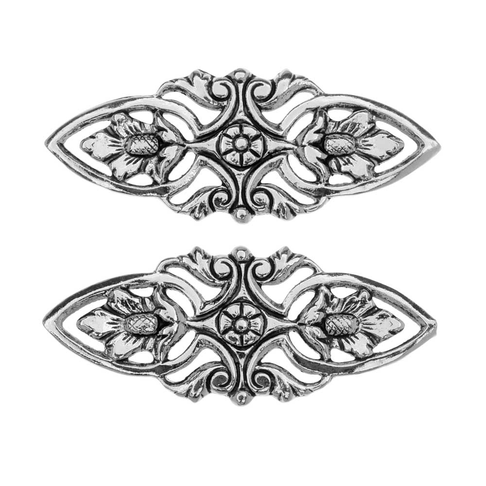 Stamping Connector Link, Filigree Marquise 12x30mm, 2 Pieces, Antiqued Silver