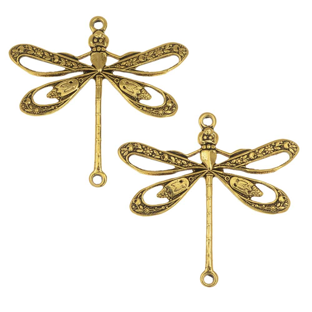 Stamping Connector Link, Open Dragonfly 23.5x24mm, 2 Pieces, Antiqued Gold