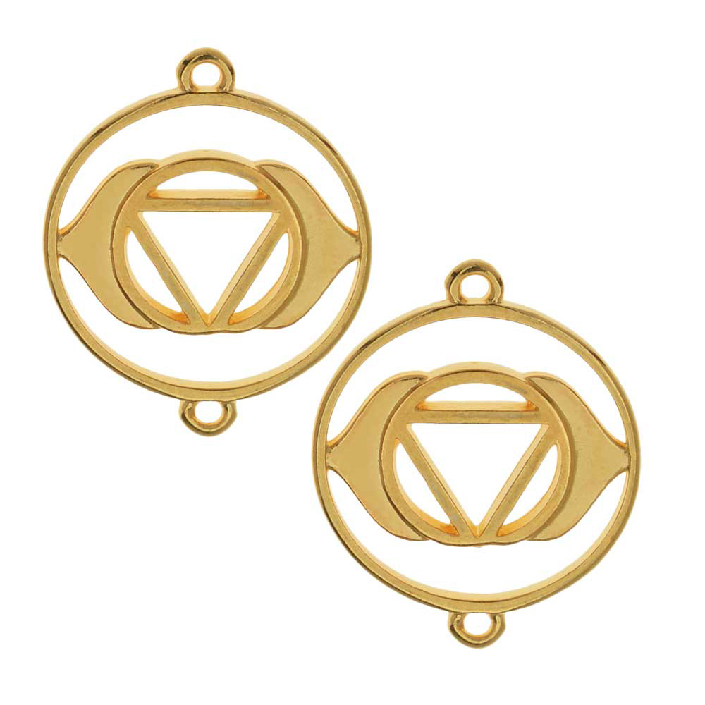 Chakra Components, Ajna / Third Eye Symbol Connector Link 24x19.5mm, 2 Pieces, Gold Plated