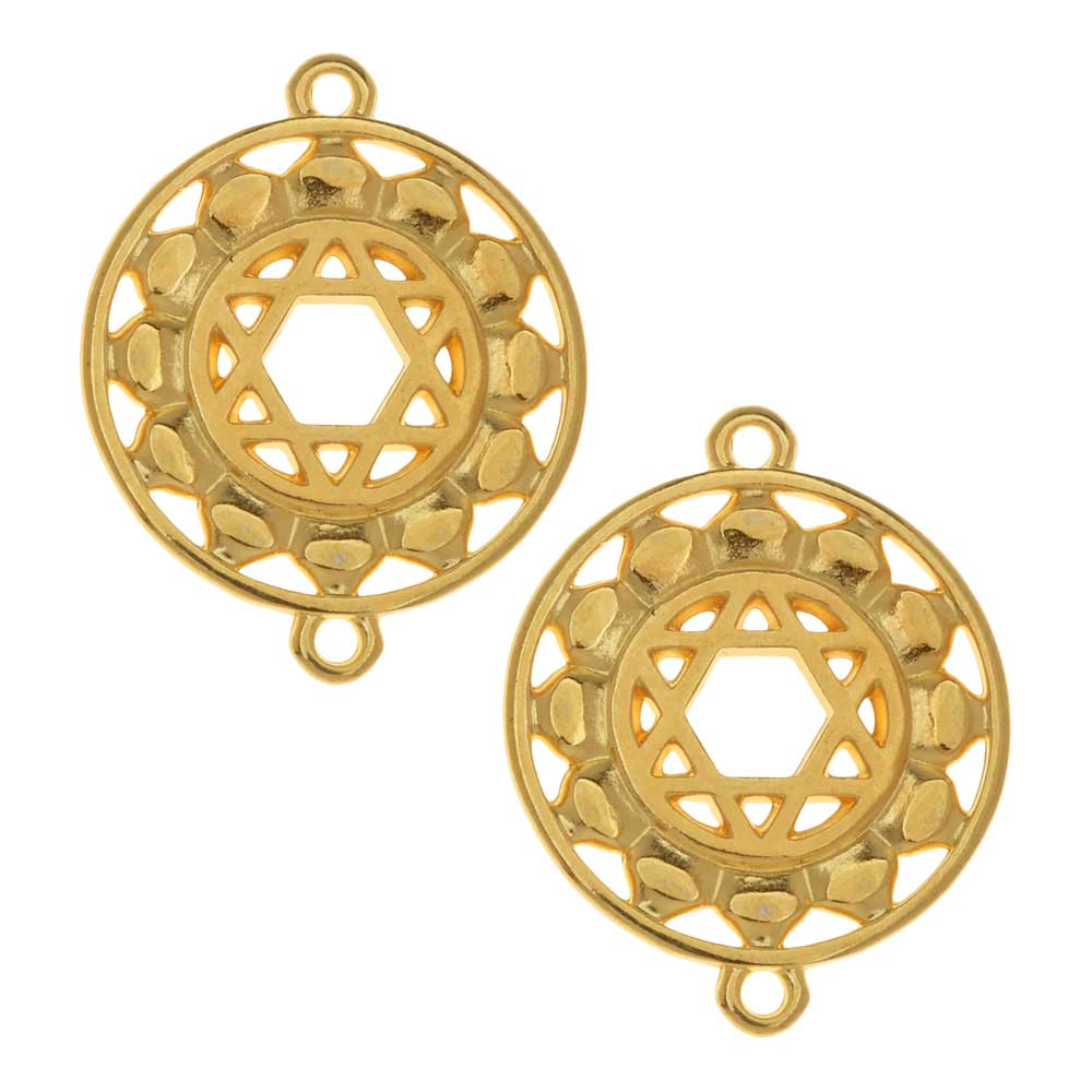 Chakra Components, Anahata / Heart Symbol Connector Link 24.5x19.5mm, 2 Pieces, Gold Plated