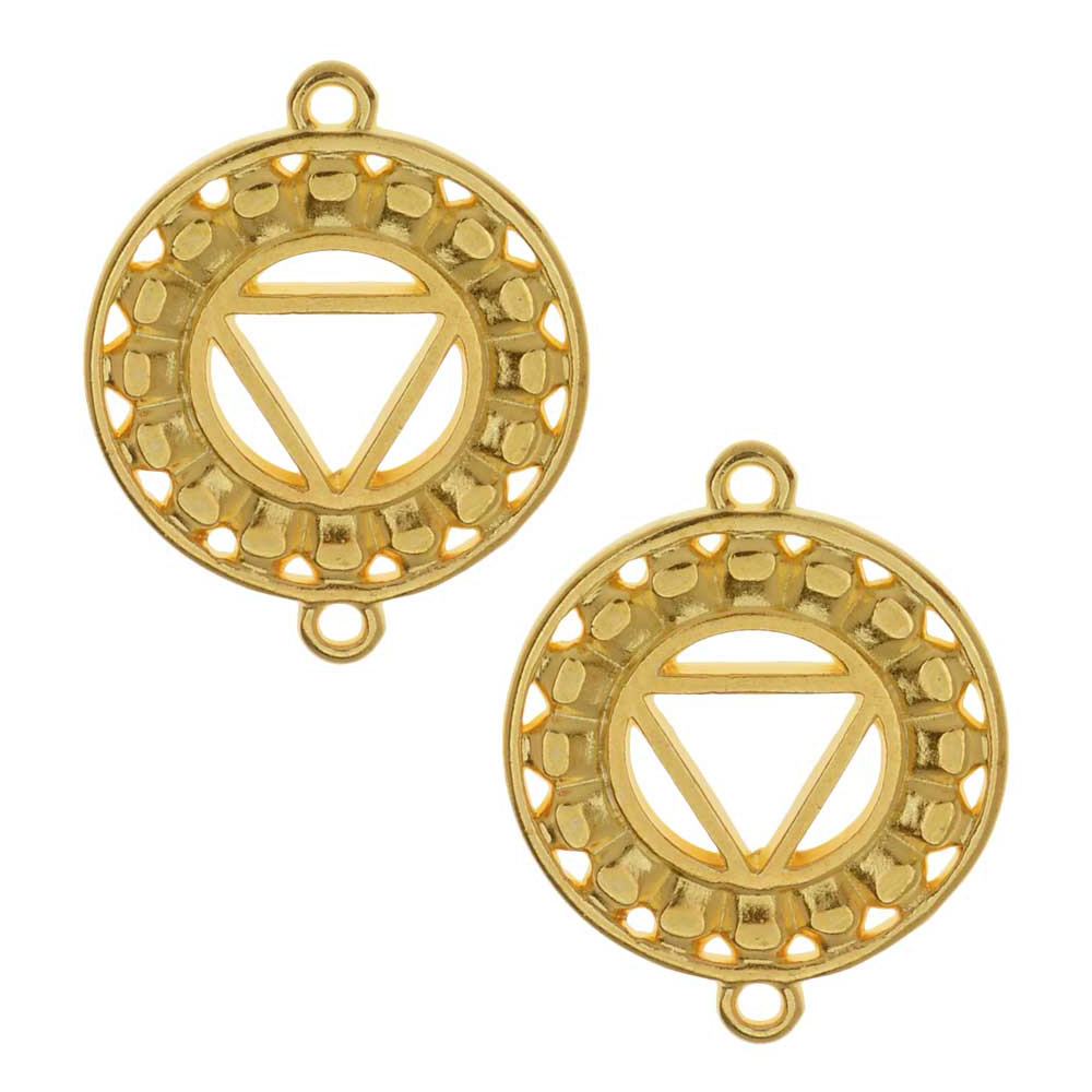 Final Sale - Chakra Components, Vishuddha / Purity Symbol Connector Link 24.5x19.5mm, 2 Pieces, Gold Plated