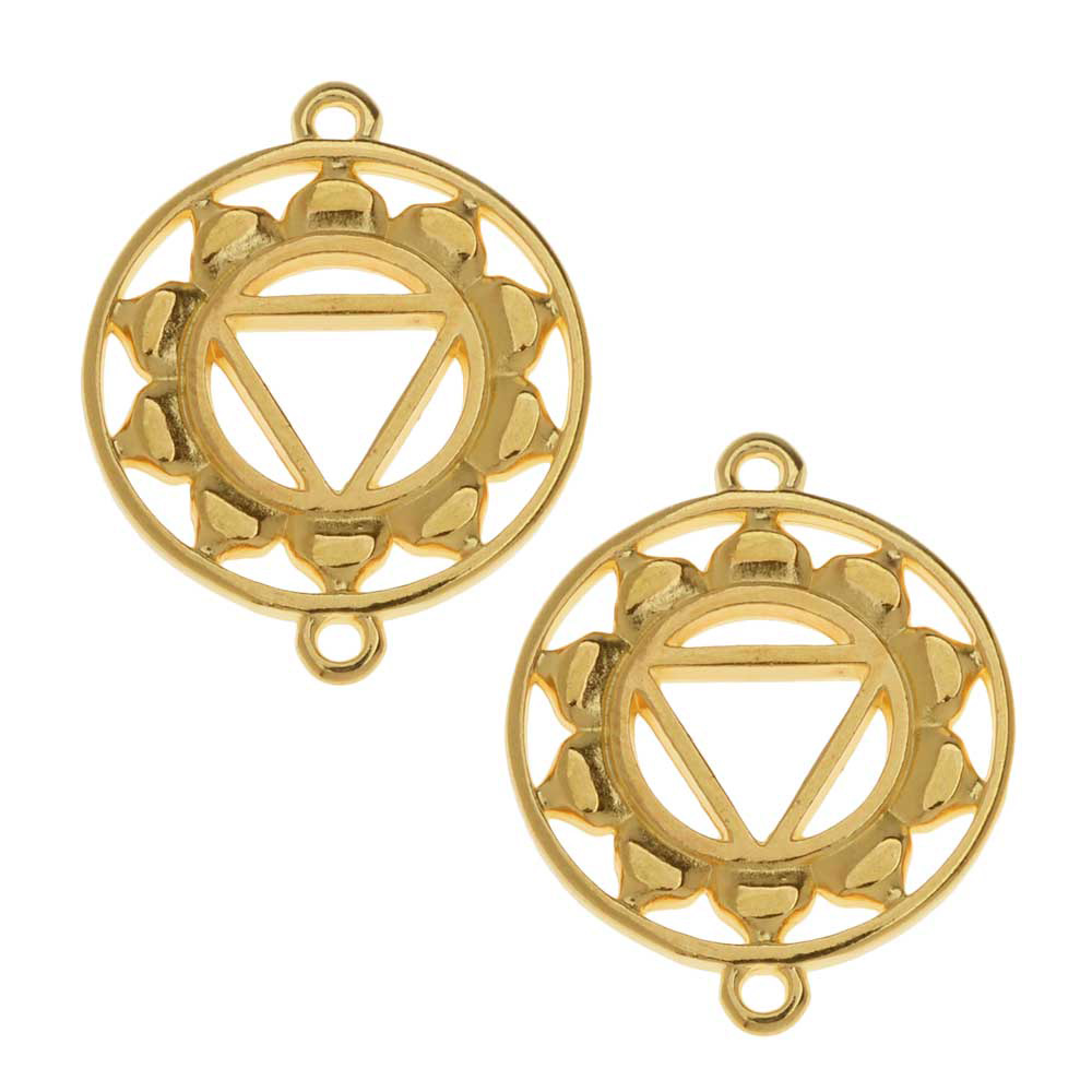 Final Sale - Chakra Components, Manipura / Solar Plexus Symbol Connector Link 24.5x19.5mm, 2 Pieces, Gold Plated