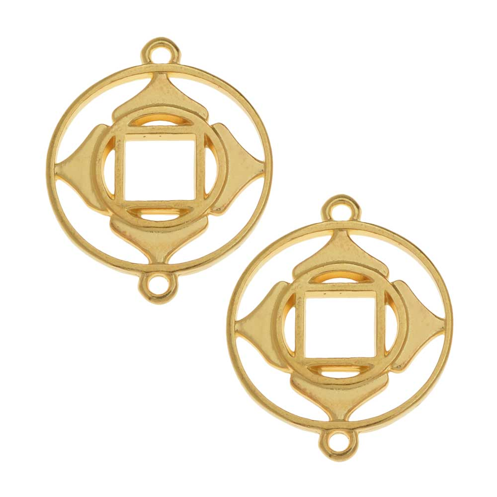 Chakra Components, Muladhara / Root Symbol Connector Link 24.5x19.5mm, 2 Pieces, Gold Plated