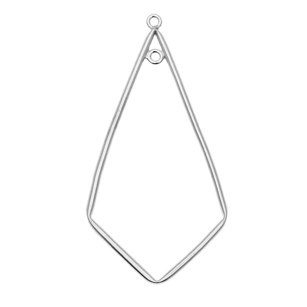 Kite Shaped Drop Open Frame Link, with Two Rings 44x21mm, 1 Piece, Sterling Silver
