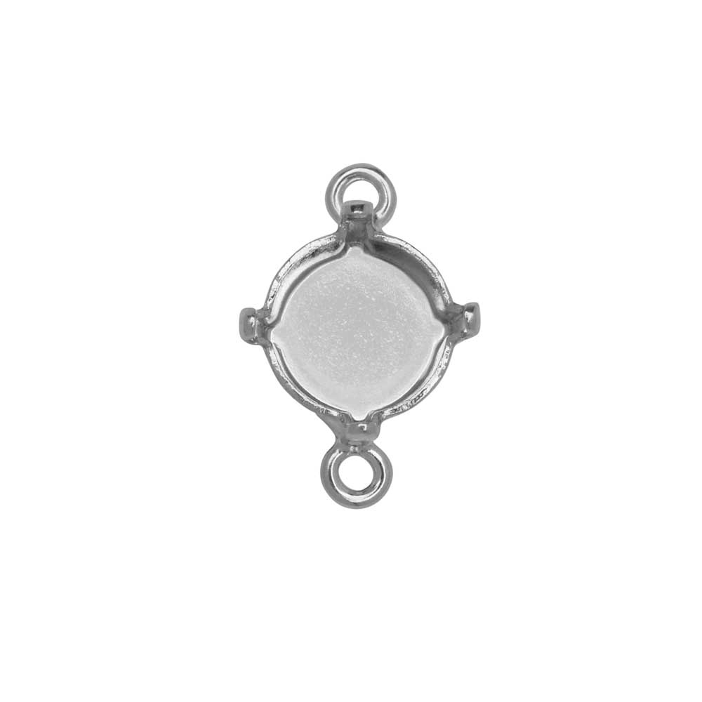 Gita Jewelry Stone Setting for Swarovski Crystal, Connector for SS39 Chaton, Rhodium Plated