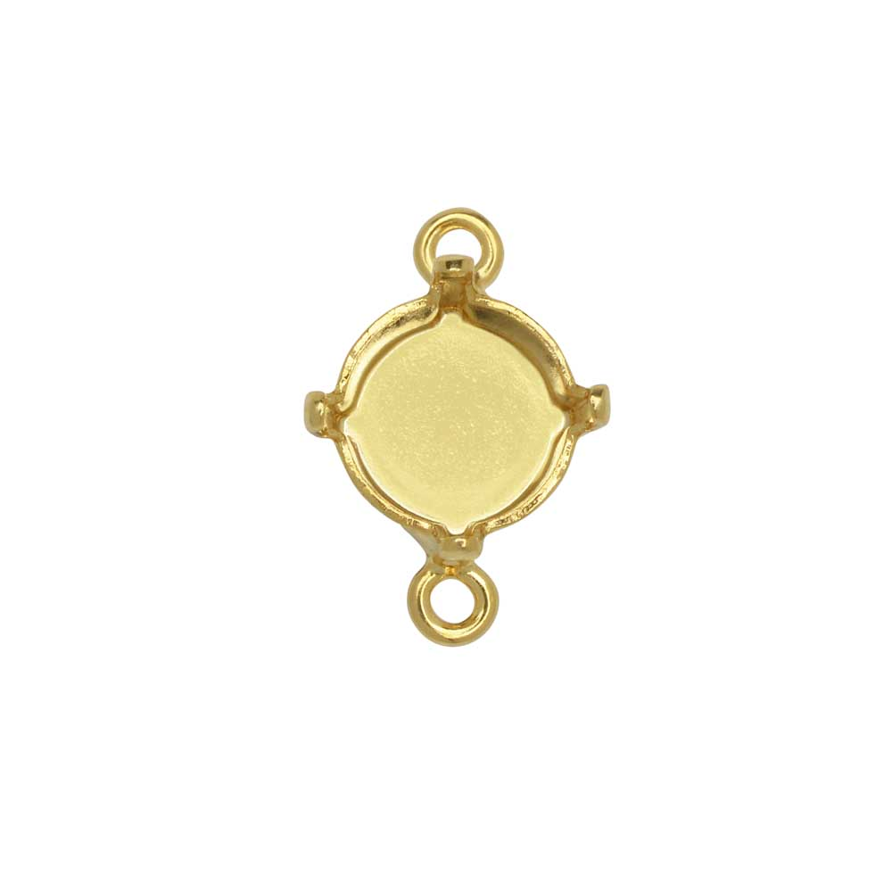 Gita Jewelry Stone Setting for Swarovski Crystal, Connector for SS39 Chaton, Gold Plated