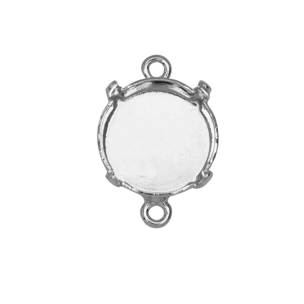 Gita Jewelry Stone Setting for Swarovski Crystal, Connector for 12mm Rivoli, Rhodium Plated