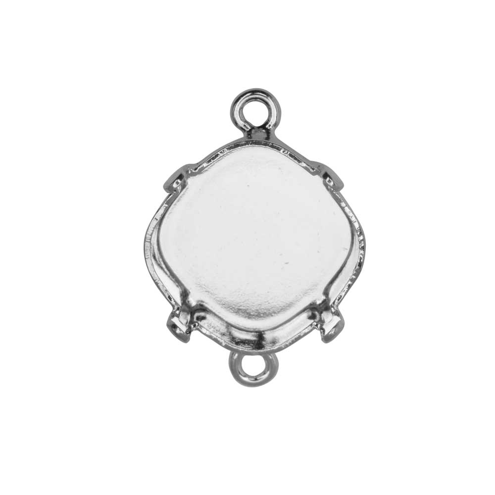 Gita Jewelry Setting for Swarovski Crystal, Tilted Square Connector for 12mm Cushion, Rhodium Plated