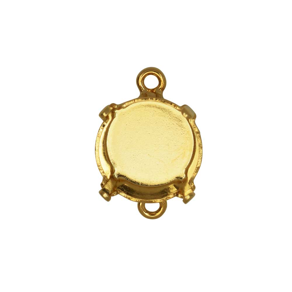 Gita Jewelry Stone Setting for Swarovski Crystal, Connector for SS47 Rivoli, Gold Plated
