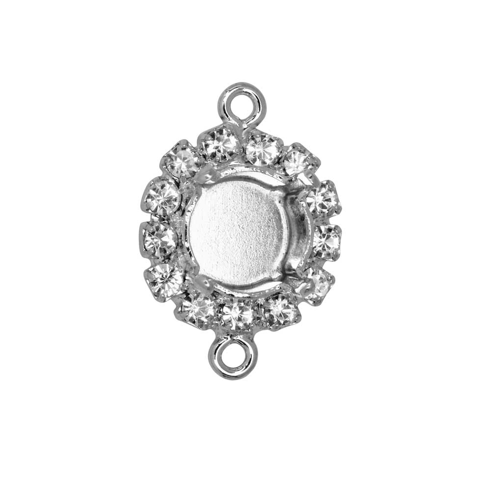 Gita Jewelry Setting for Swarovski Crystal, Connector for SS39 Chaton w/13 Crystals, Rhodium Plated