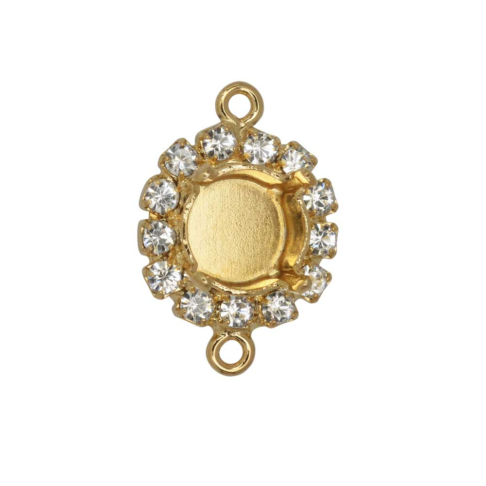 Gita Jewelry Setting for Swarovski Crystal, Connector for SS39 Chaton with 13 Crystals, Gold Plated