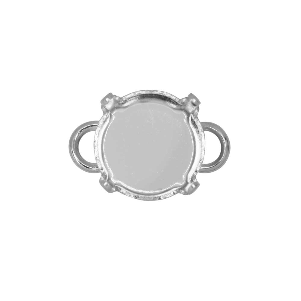 Gita Jewelry Setting for Swarovski Crystal, Large Loop Connector for SS47 Rivoli, Rhodium Plated
