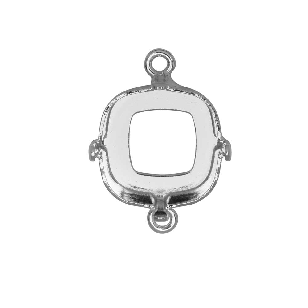 Gita Jewelry Setting for Swarovski Crystal, Open Back Square Connector for 12mm Cushion, Rhodium Plt