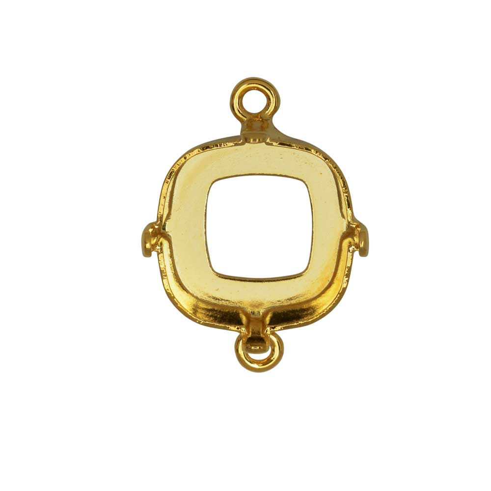 Gita Jewelry Setting for Swarovski Crystal, Open Back Square Connector for 12mm Cushion, Gold Plated